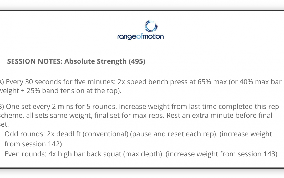 SESSION NOTES: Absolute Strength (495)