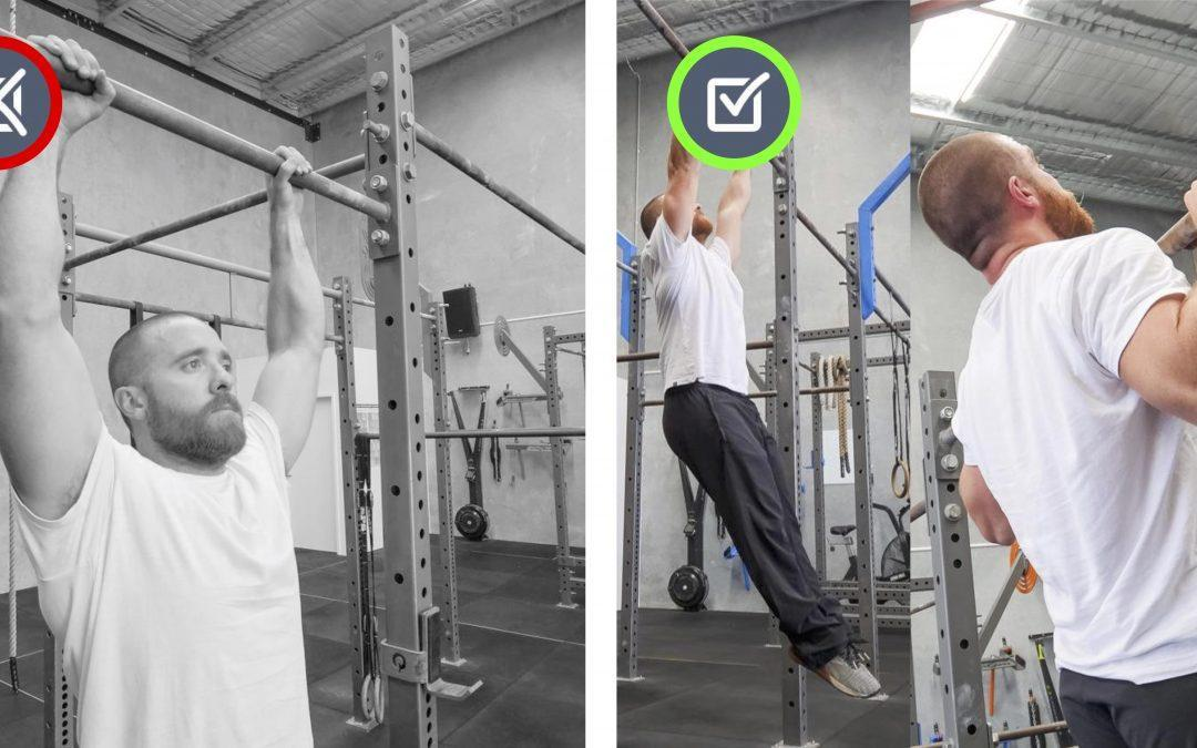 Elbows bent. Pull-up/Hang Movement Therapy.