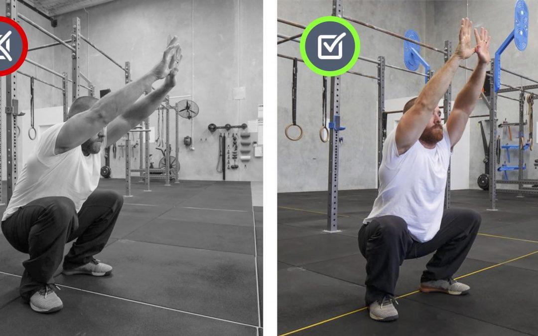 Lower back rounded. Squat, Jump, Run, Cycle Movement Therapy.