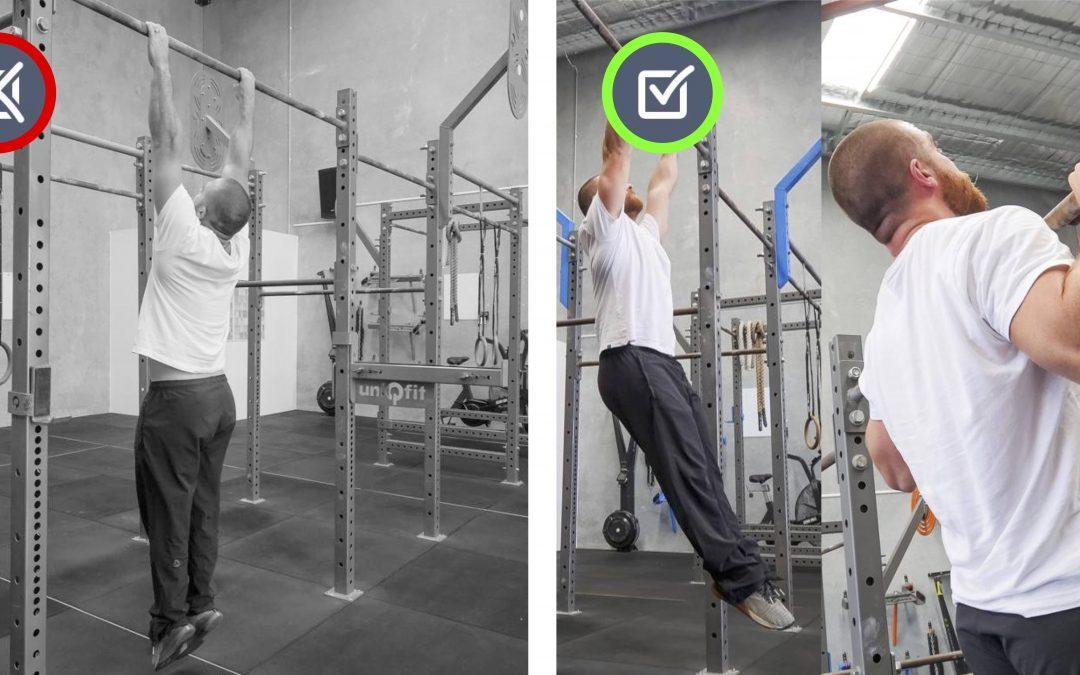 Shoulders forward / shoulder blades apart. Pull-up/Hang Movement Therapy.
