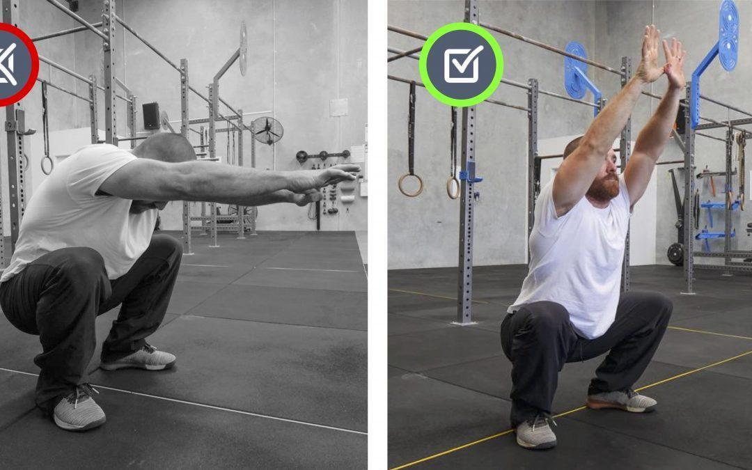 Upper back rounded. Squat, Jump, Run, Cycle Movement Therapy.